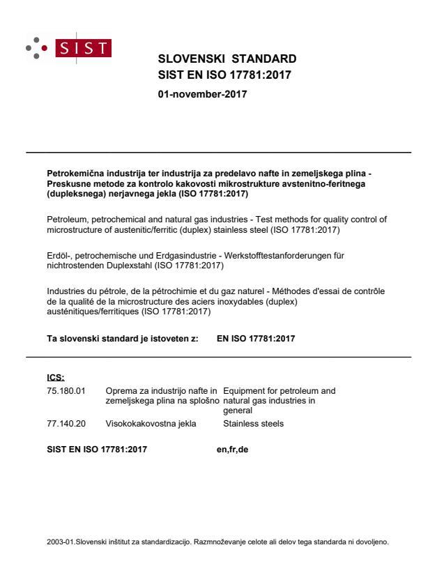 SIST EN ISO 17781:2017