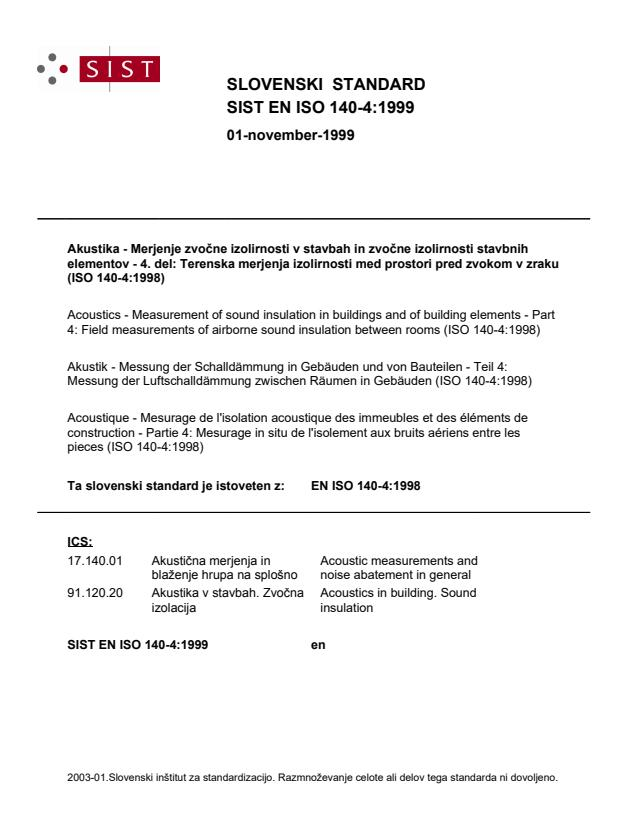 SIST EN ISO 140-4:1999