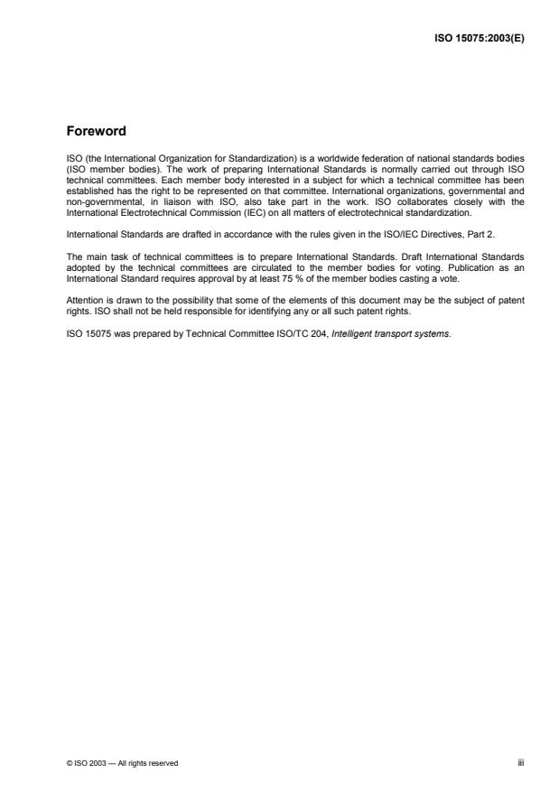 ISO 15075:2003 - Transport information and control systems -- In-vehicle navigation systems -- Communications message set requirements
