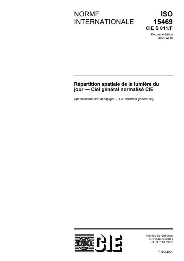 ISO 15469:2004 - Répartition spatiale de la lumiere du jour -- Ciel général normalisé CIE