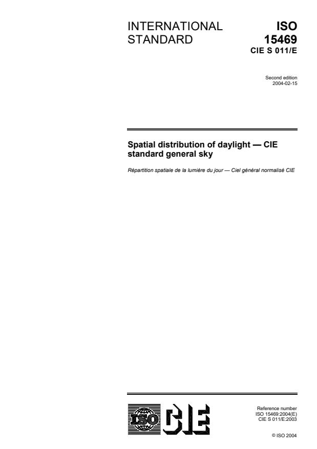 ISO 15469:2004 - Spatial distribution of daylight -- CIE standard general sky
