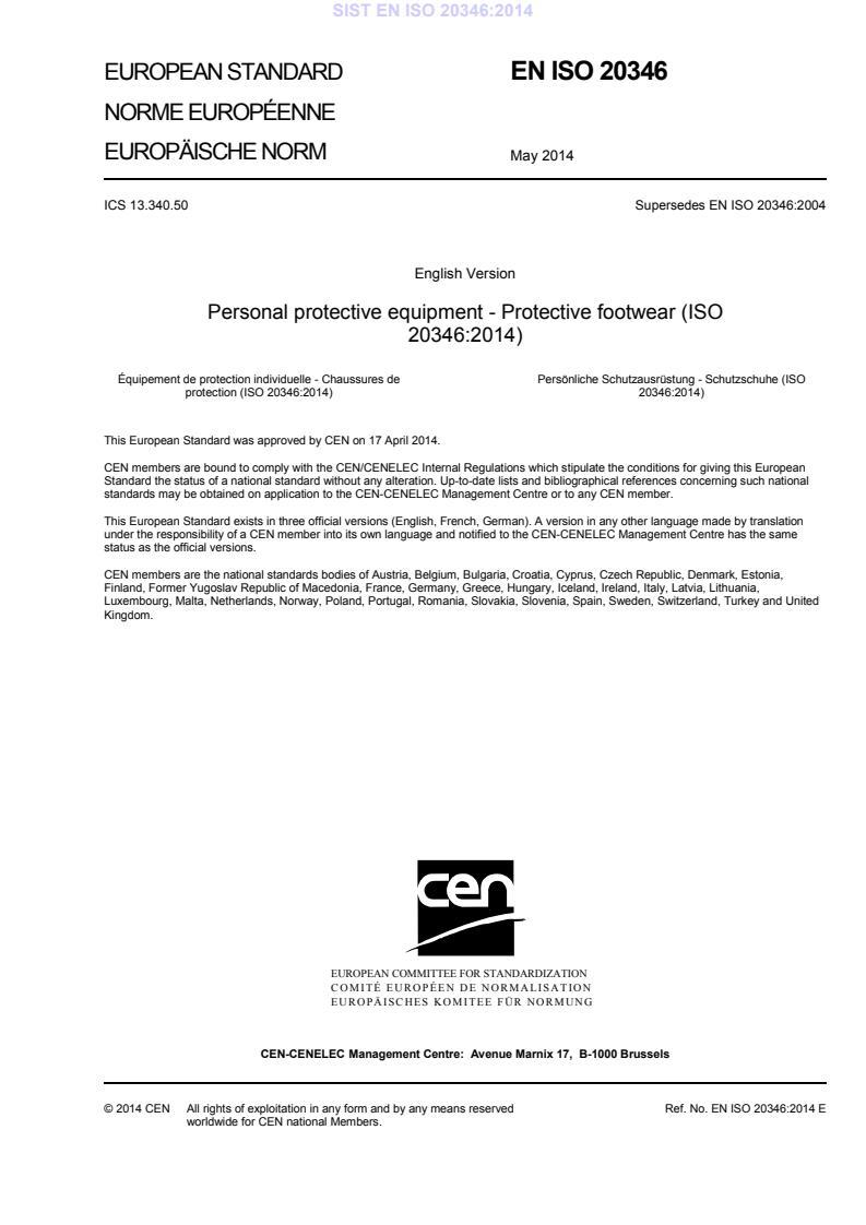 SIST EN ISO 20346:2014