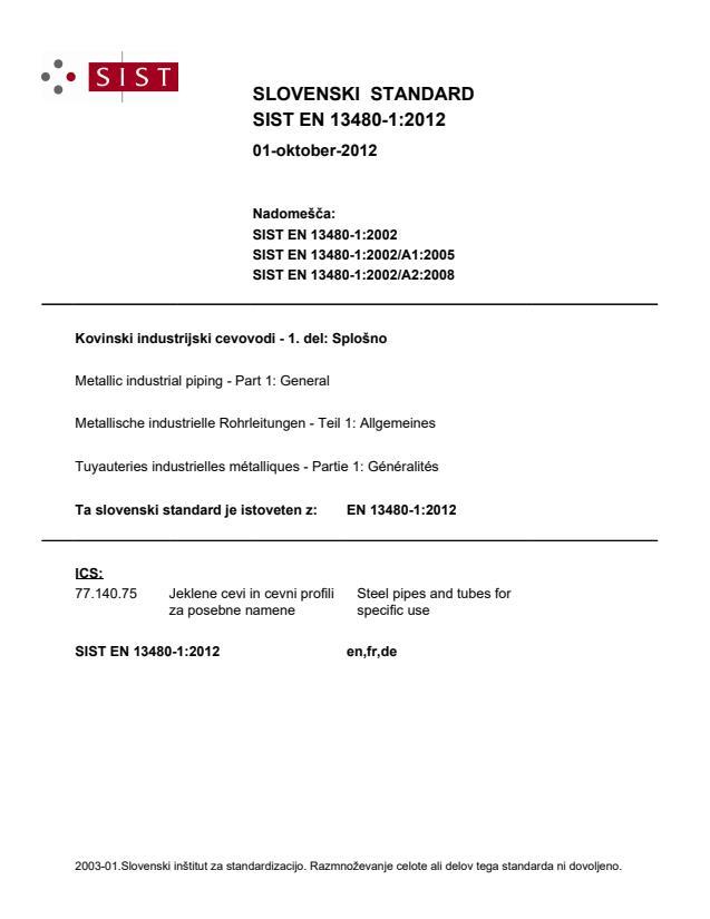 EN 13480-1:2012 - natisnjeno za čitalnico