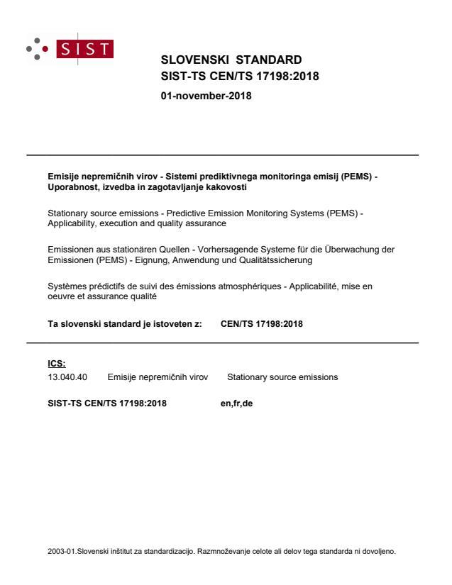 SIST-TS CEN/TS 17198:2018