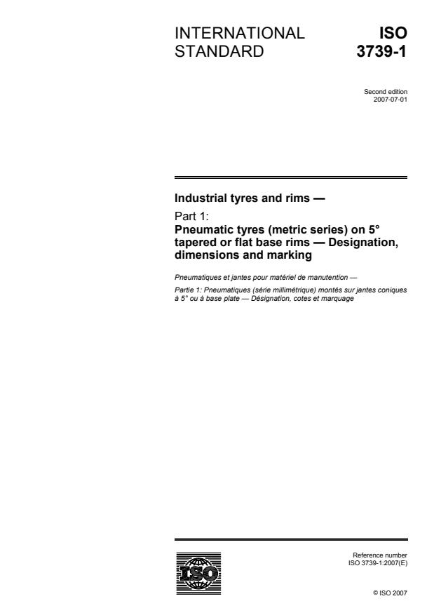 ISO 3739-1:2007 - Industrial tyres and rims