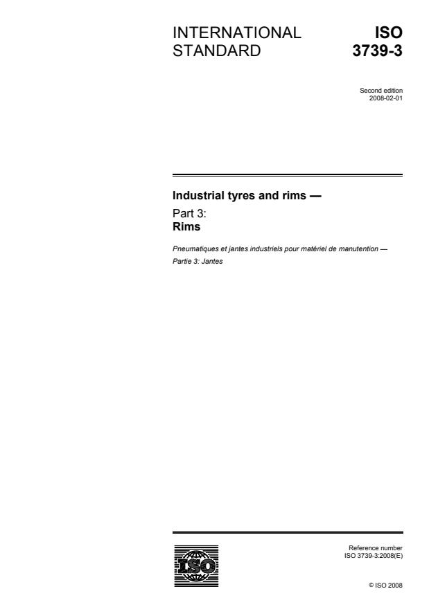 ISO 3739-3:2008 - Industrial tyres and rims