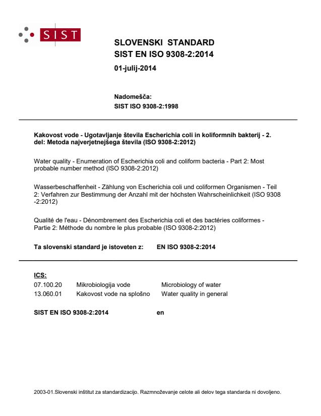 EN ISO 9308-2:2014
