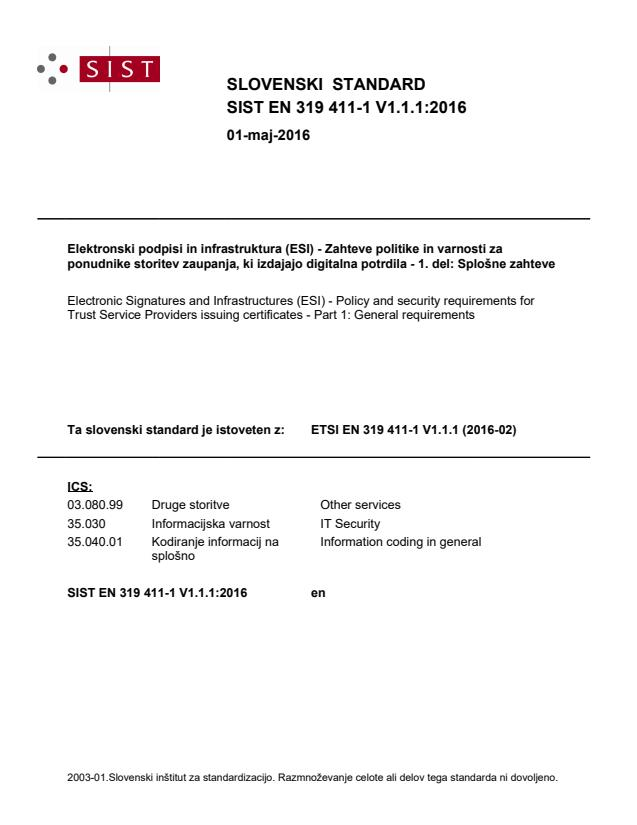SIST EN 319 411-1 V1.1.1:2016