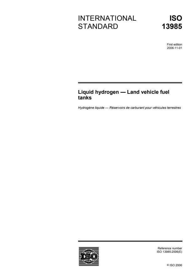 ISO 13985:2006 - Liquid hydrogen -- Land vehicle fuel tanks