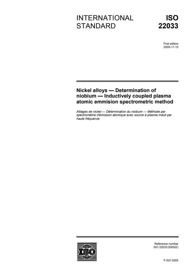 ISO 22033:2005 - Nickel alloys -- Determination of niobium  -- Inductively coupled plasma atomic emission spectrometric method