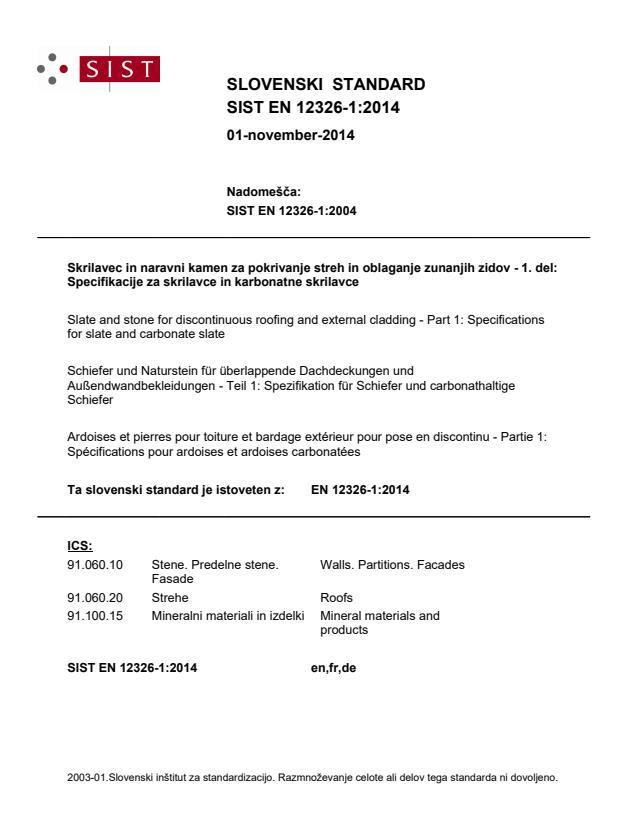 EN 12326-1:2014 - natisnjeno za čitalnico