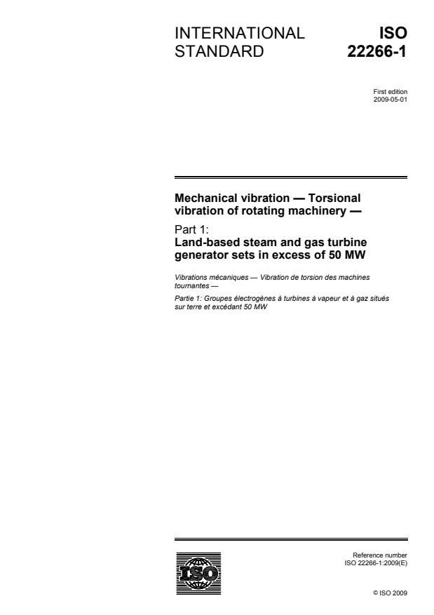 ISO 22266-1:2009 - Mechanical vibration -- Torsional vibration of rotating machinery