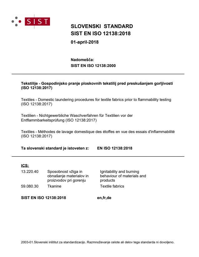 EN ISO 12138:2018
