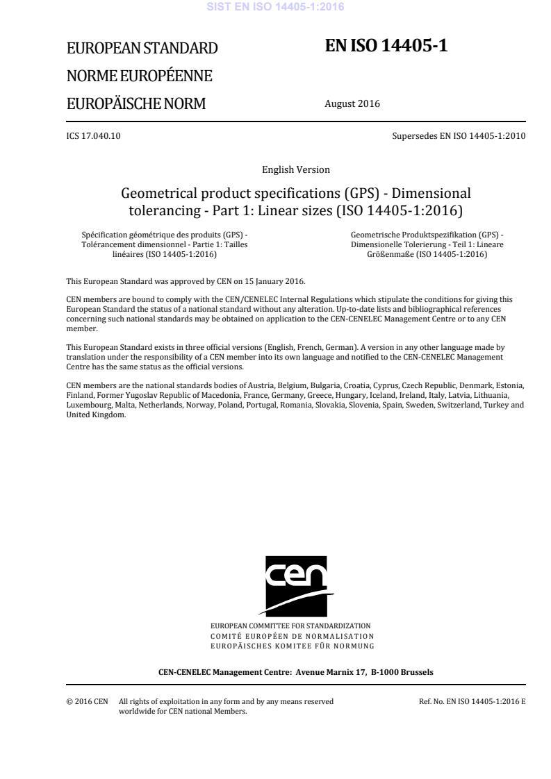 SIST EN ISO 14405-1:2016 (EN) - natisnjeno za čitalnico