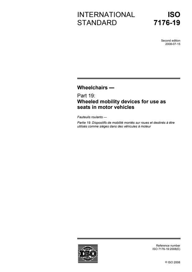 ISO 7176-19:2008 - Wheelchairs