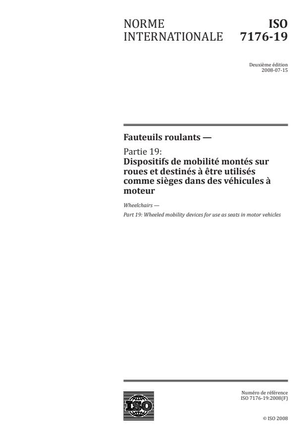 ISO 7176-19:2008 - Fauteuils roulants