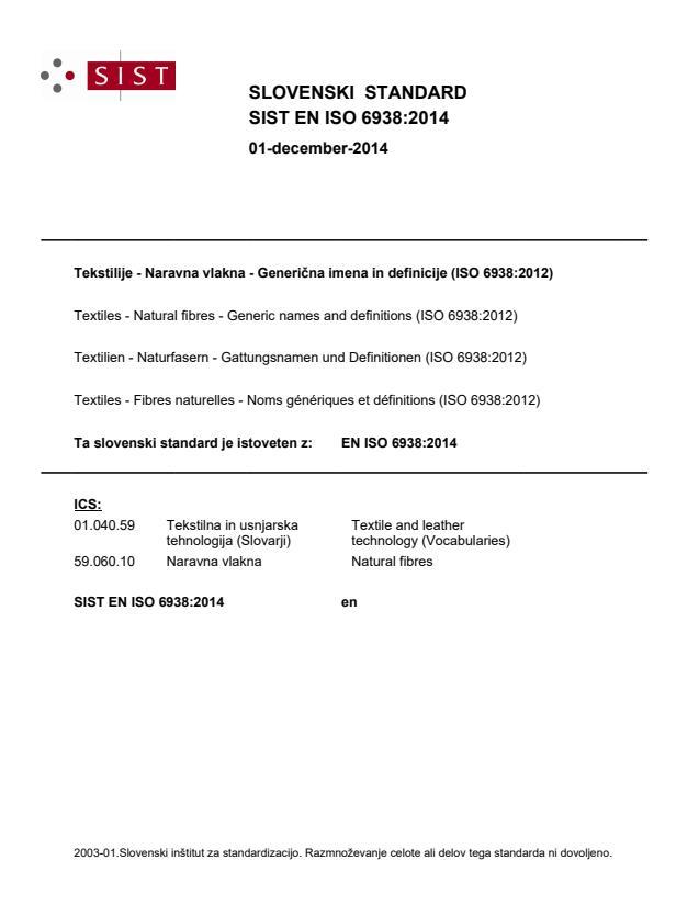 SIST EN ISO 6938:2014 - natisnjeno za čitalnico
