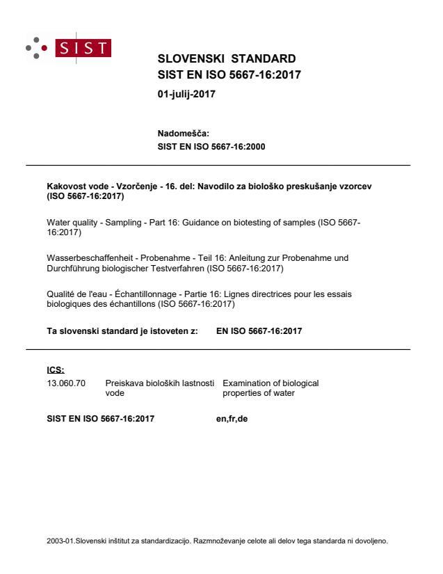 EN ISO 5667-16:2017