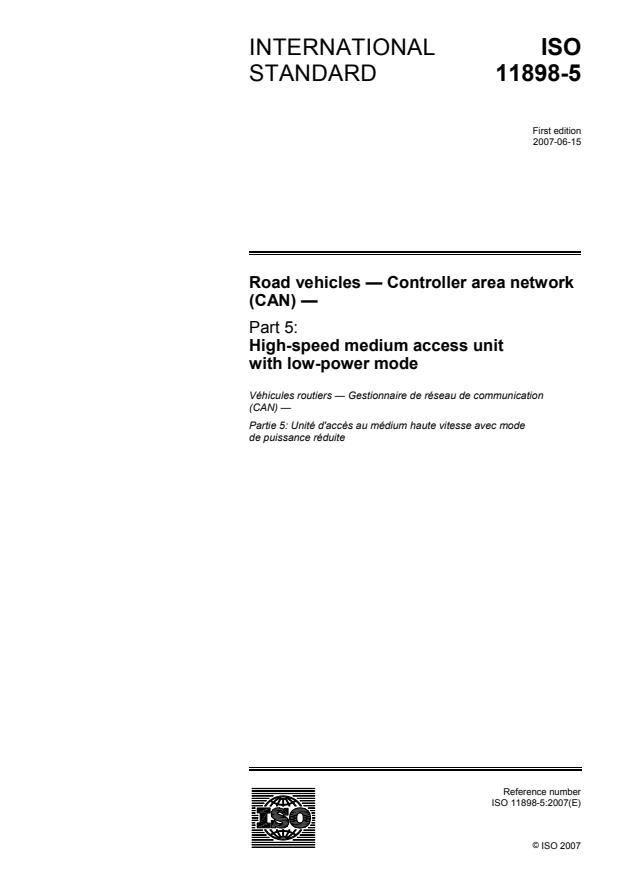 ISO 11898-5:2007 - Road vehicles -- Controller area network (CAN)