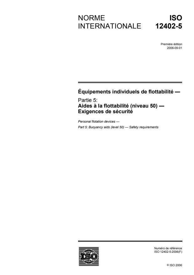 ISO 12402-5:2006 - Équipements individuels de flottabilité