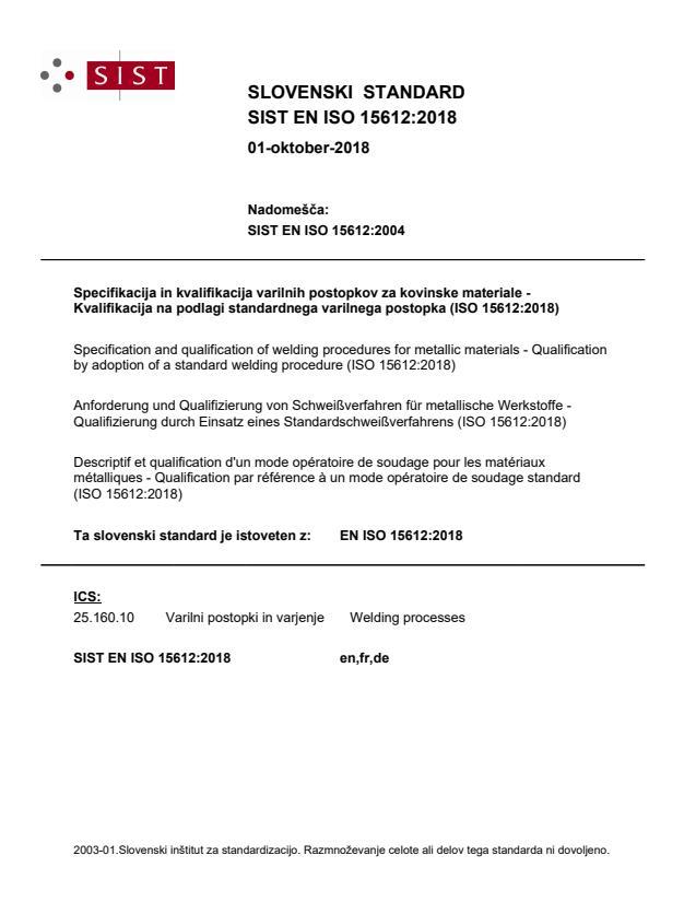 SIST EN ISO 15612:2018