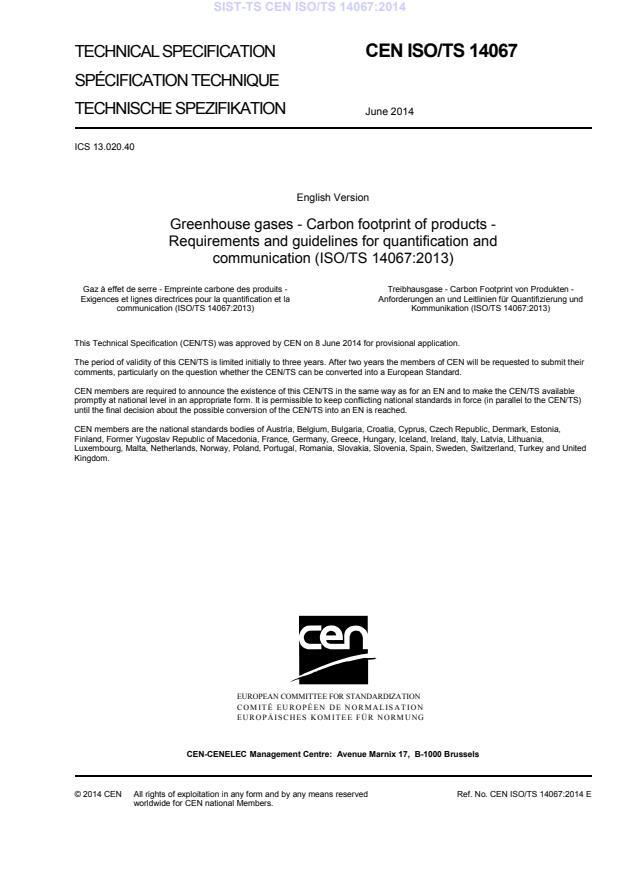 -TS CEN ISO/TS 14067:2014