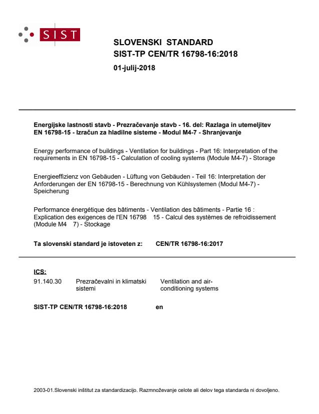 SIST-TP CEN/TR 16798-16:2018