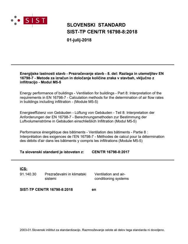 SIST-TP CEN/TR 16798-8:2018