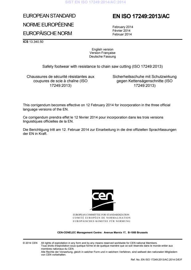 EN ISO 17249:2013/AC:2014