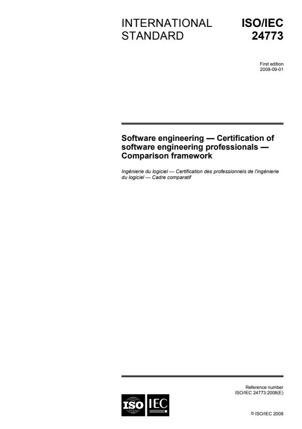 ISO/IEC 24773:2008 - Software engineering -- Certification of software engineering professionals -- Comparison framework