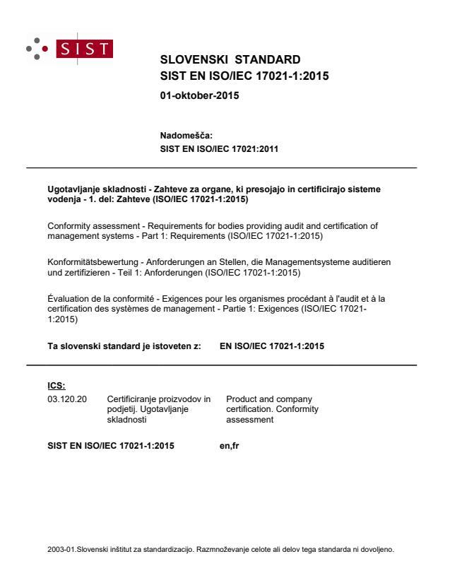 SIST EN ISO/IEC 17021-1:2015