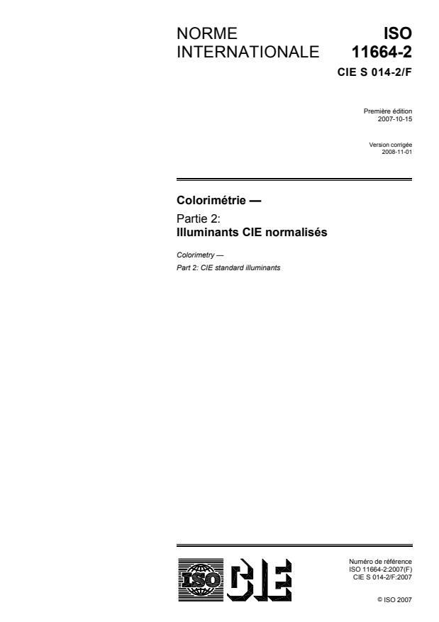 ISO 10526:2007 - Illuminants colorimétriques normalisés CIE