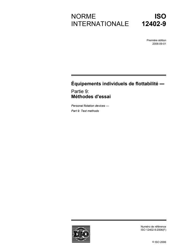 ISO 12402-9:2006 - Équipements individuels de flottabilité