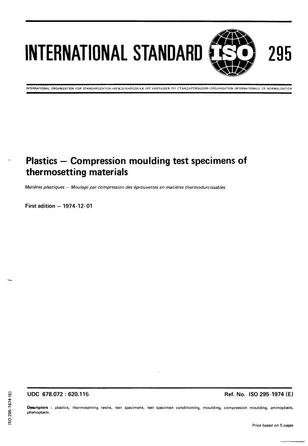 ISO 295:1974 - Plastics -- Compression moulding test specimens of thermosetting materials