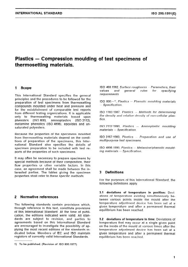 ISO 295:1991 - Plastics -- Compression moulding of test specimens of thermosetting materials