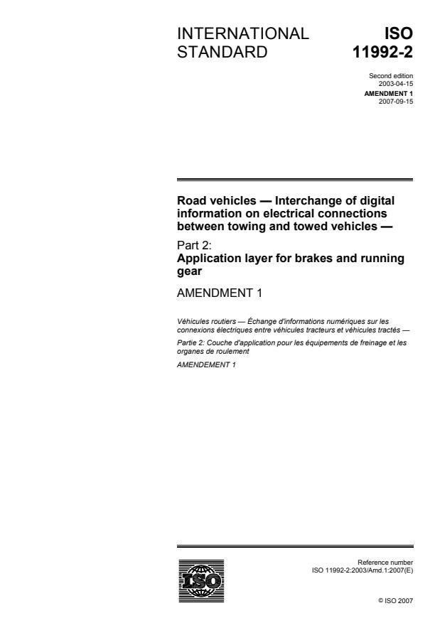 ISO 11992-2:2003/Amd 1:2007