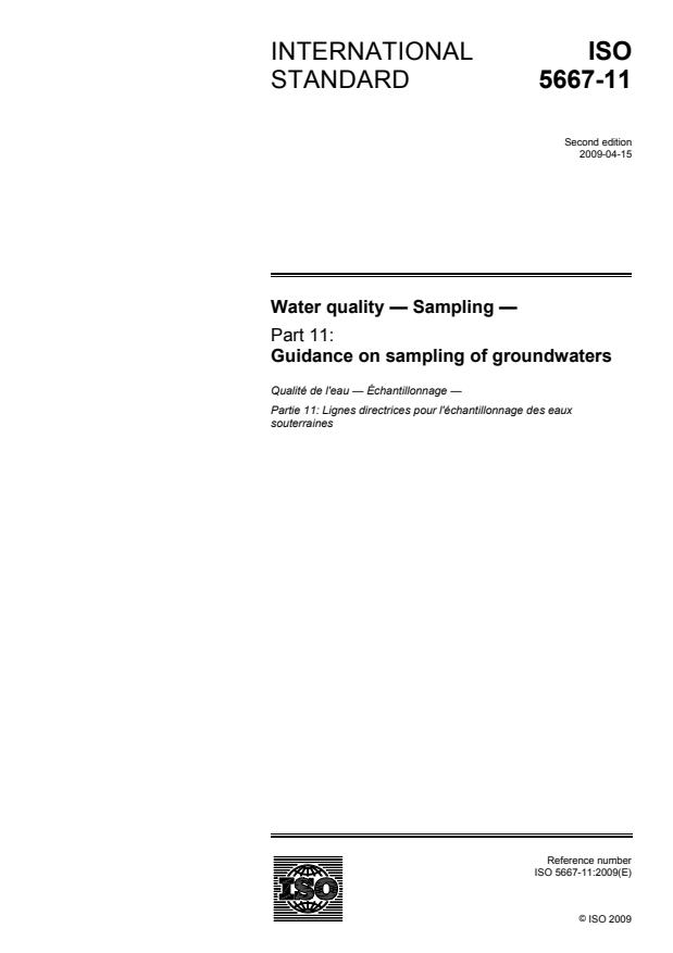ISO 5667-11:2009 - Water quality -- Sampling