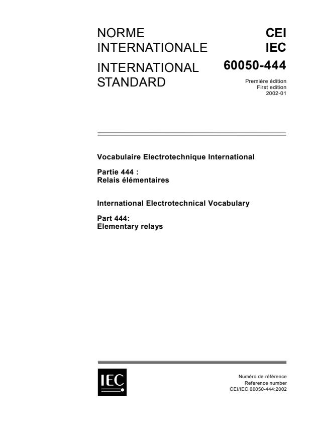 IEC 60050-444:2002 - International Electrotechnical Vocabulary (IEV) - Part 444: Elementary relays