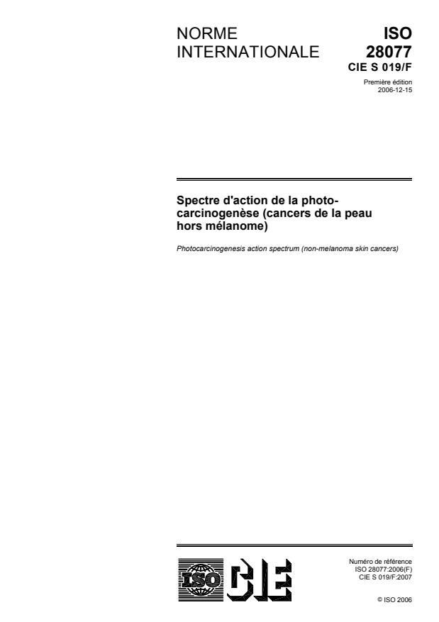 ISO 28077:2006 - Spectre d'action de la photocarcinogenese (cancers de la peau hors mélanome)