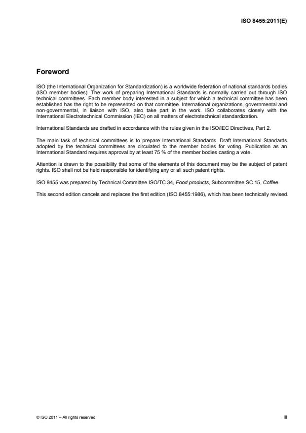 ISO 8455:2011 - Green coffee -- Guidelines for storage and transport