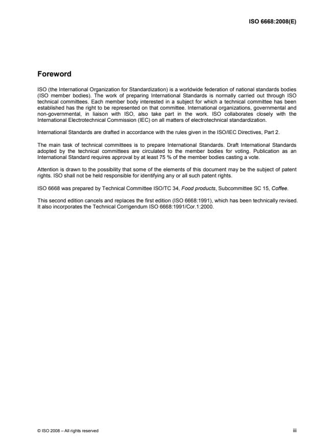ISO 6668:2008 - Green coffee -- Preparation of samples for use in sensory analysis