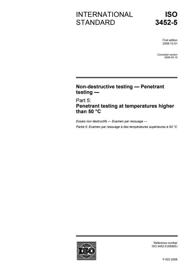 ISO 3452-5:2008 - Non-destructive testing -- Penetrant testing