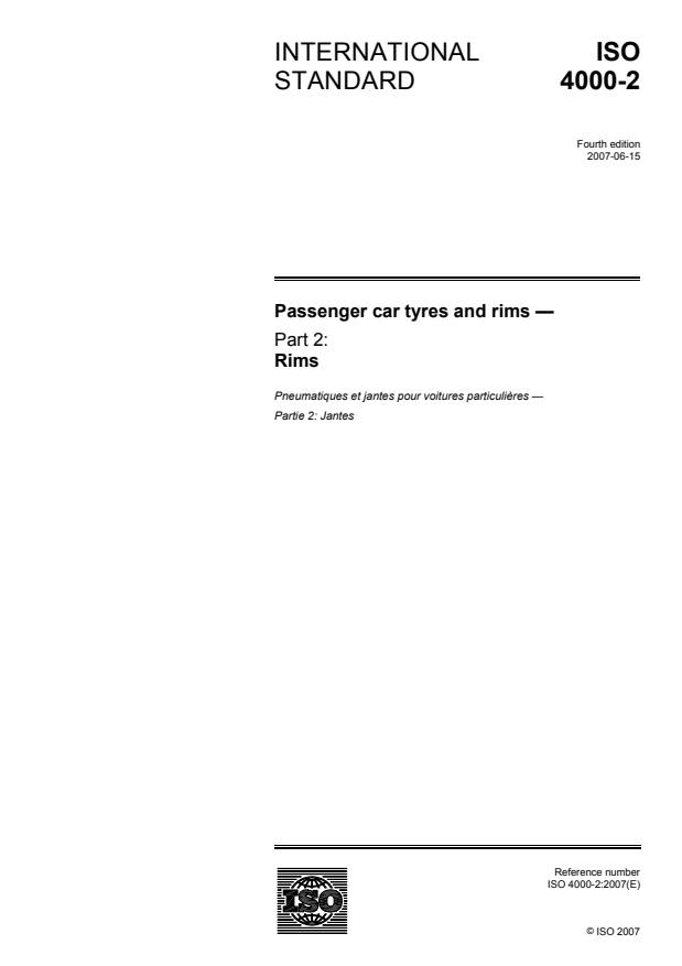 ISO 4000-2:2007 - Passenger car tyres and rims
