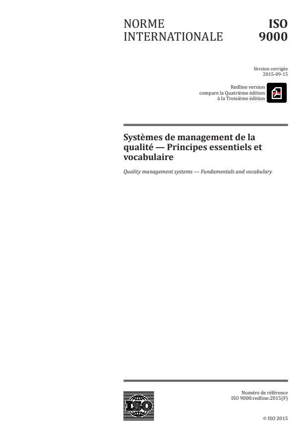 REDLINE ISO 9000:2015 - Systemes de management de la qualité -- Principes essentiels et vocabulaire