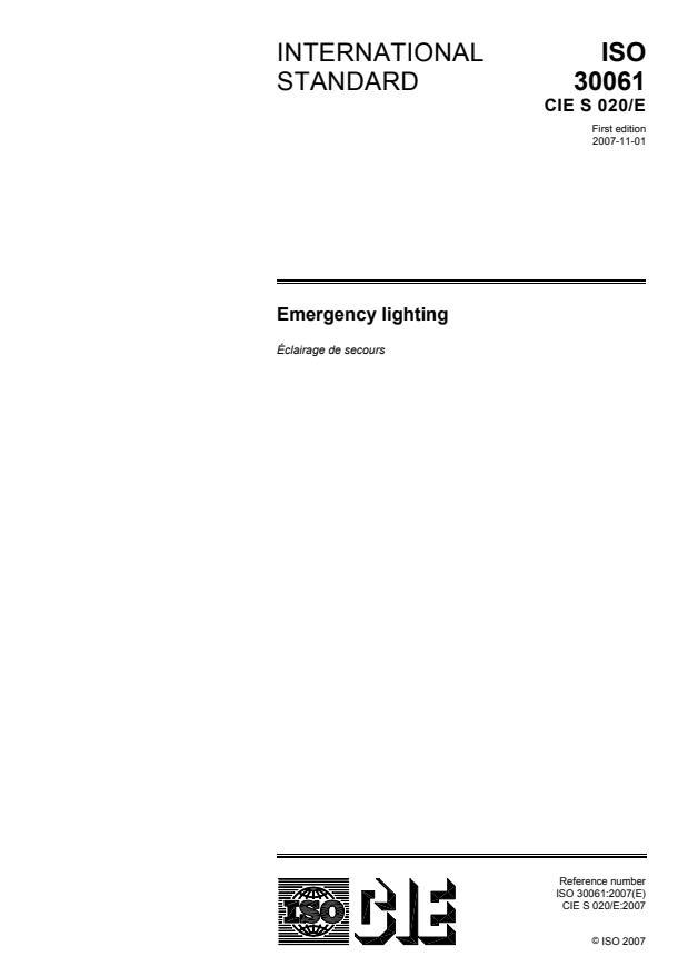 ISO 30061:2007 - Emergency lighting