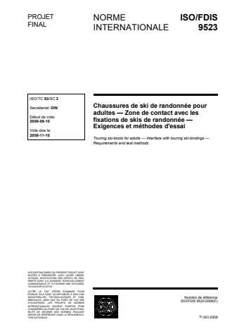 ISO 9523:2008 - Chaussures de ski de randonnée pour adultes -- Zone de contact avec les fixations de skis de randonnée -- Exigences et méthodes d'essai