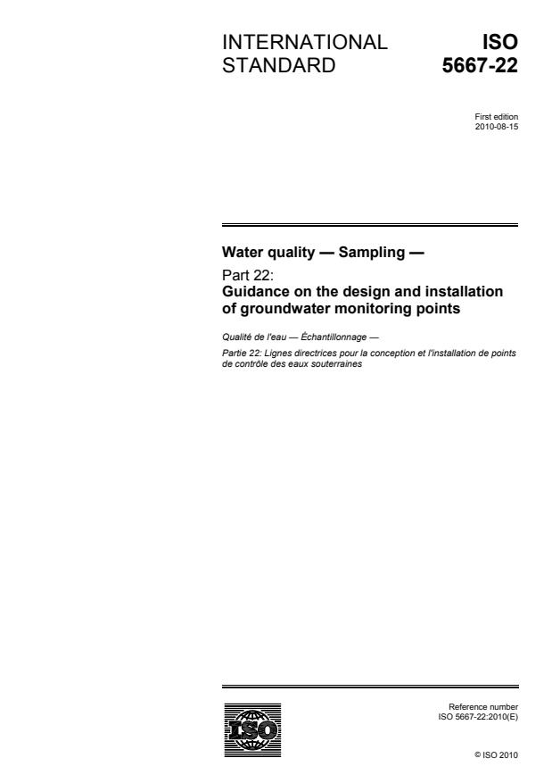 ISO 5667-22:2010 - Water quality -- Sampling
