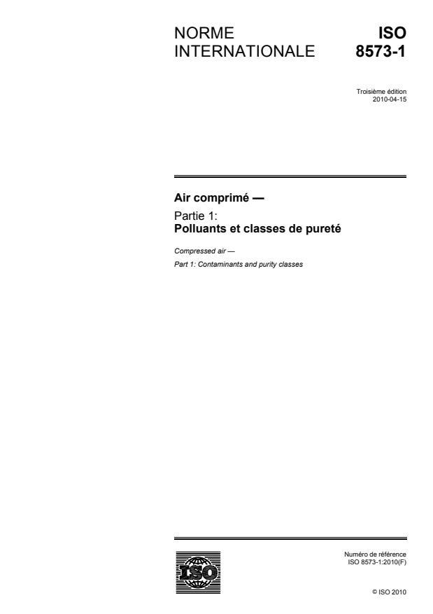 ISO 8573-1:2010 - Air comprimé