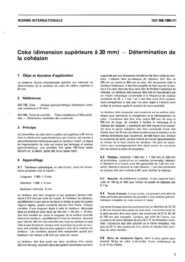 ISO 556:1980 - Coke (dimension supérieure a 20 mm) -- Détermination de la cohésion
