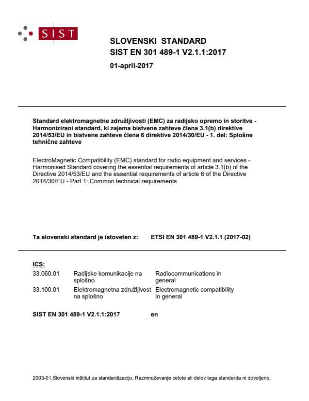 SIST EN 301 489-1 V2.1.1:2017